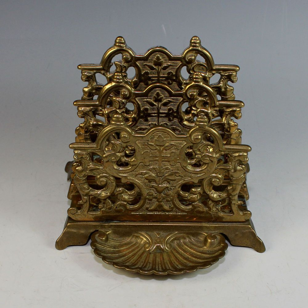 Antique French Bronze Letter Holder with Small Tray #Directoire  #Doesnotapply - Antique French Bronze Letter Holder With Small Tray Antique Desk