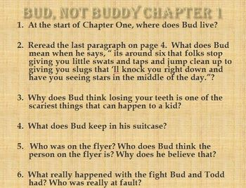 bud not buddy powerpoint study guide comprehension questions  bud not buddy powerpoint study guide