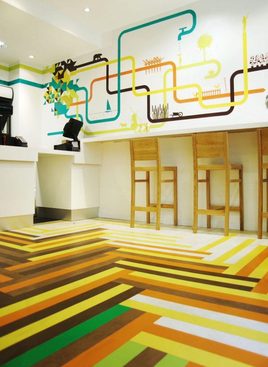Restaurant Interior Design Ideas with Multicoloured Floor at the ...