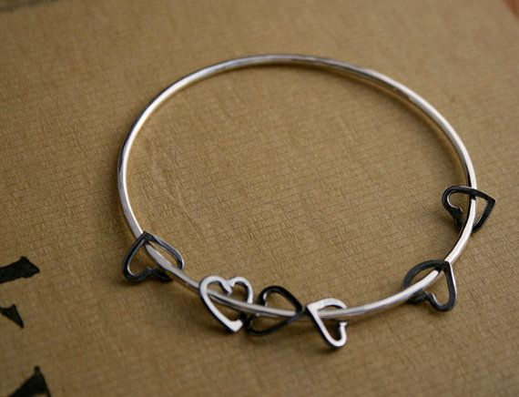 Black Hearts Sterling Silver Bangle by KiraFerrer on Etsy - wadulifashions.com