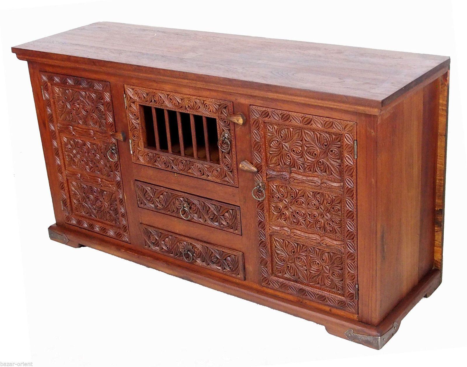 Ebay Schlafzimmerschrank ~ Antik look massivholz schrank sideboard anrichte kommode cabinet