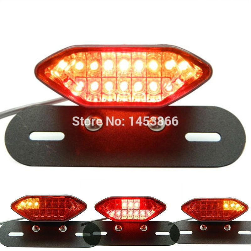Motorcycle Dual Integrated Tail Lights LED Turn Signal Brake License Plate Lamp