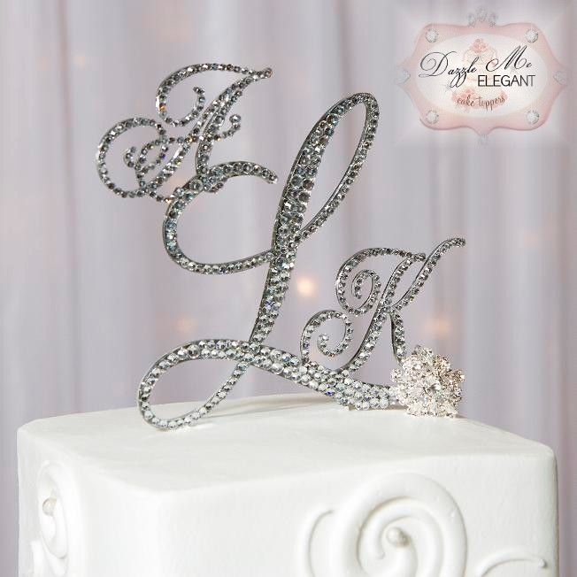 Crystal Monogram Cake Topper