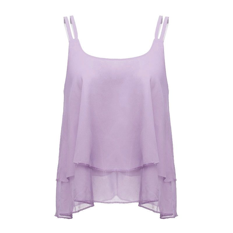 Hot Sale 2017 Summer Style Vest Fashion New Women Tank Spaghetti Strap  Chiffon Sleeveless Cropped Tops 06a87049c4