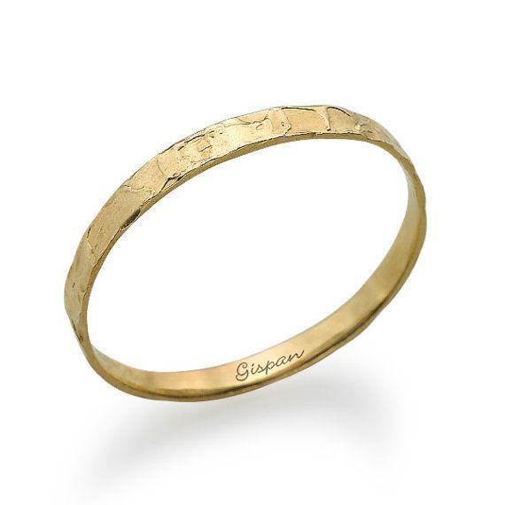 Hammered Wedding Ring Yellow Gold Hammered Ring by gispandiamonds