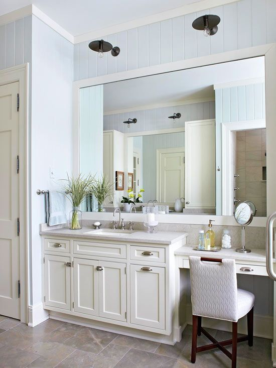 Beau Antique Sconces Hang Above The Oversize Mirror And Add Unexpected Flair To  The Light And Bright Bathroom. The Dark Finish On The Light Fixtures Adds  Weight ...
