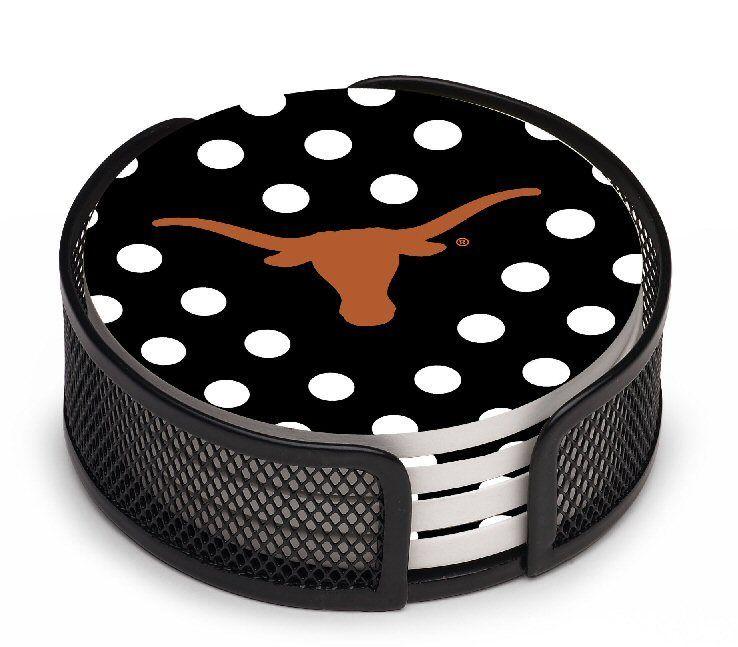 Texas Longhorns Dots Beverage Coasters With Mesh Holders Set Of 10 Coaster Gift Set Longhorn Texas Longhorns