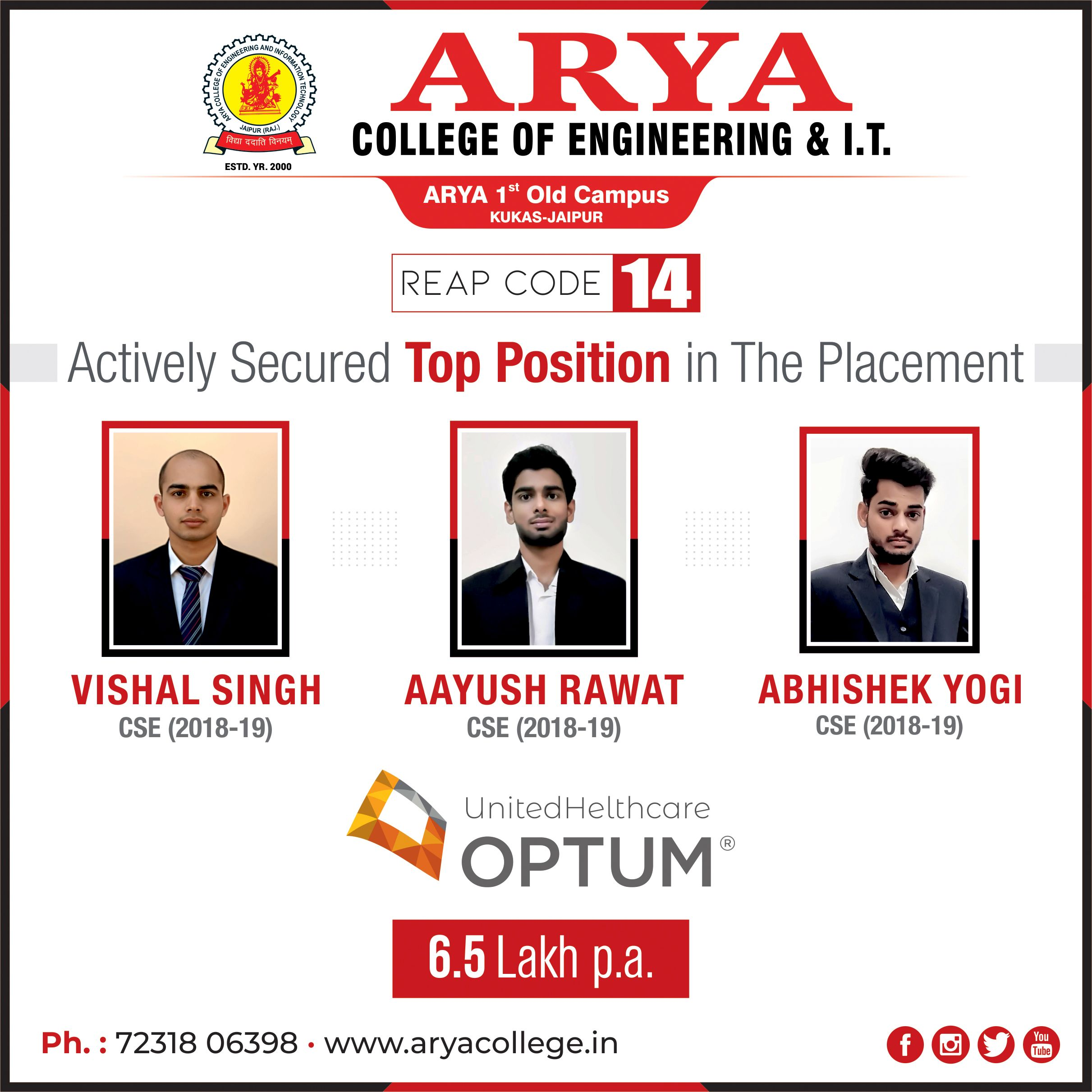 Arya College Students Placed in United Healthcare Optum