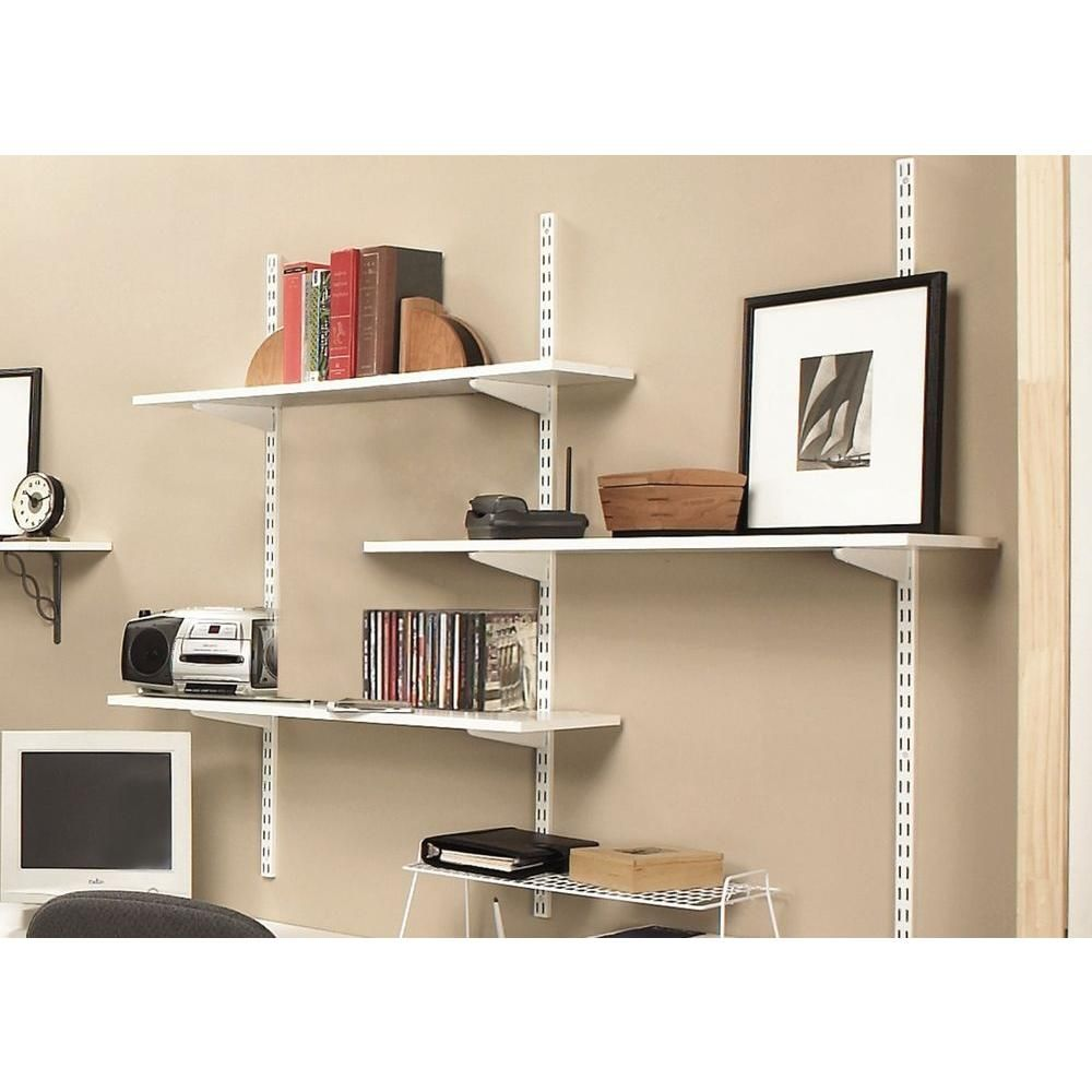 Rubbermaid 48 In White Twin Track Upright For Wood Or Wire Shelving Fg4b8800wht The Home Depot White Wood Shelves Wall Mounted Shelves Track Shelving