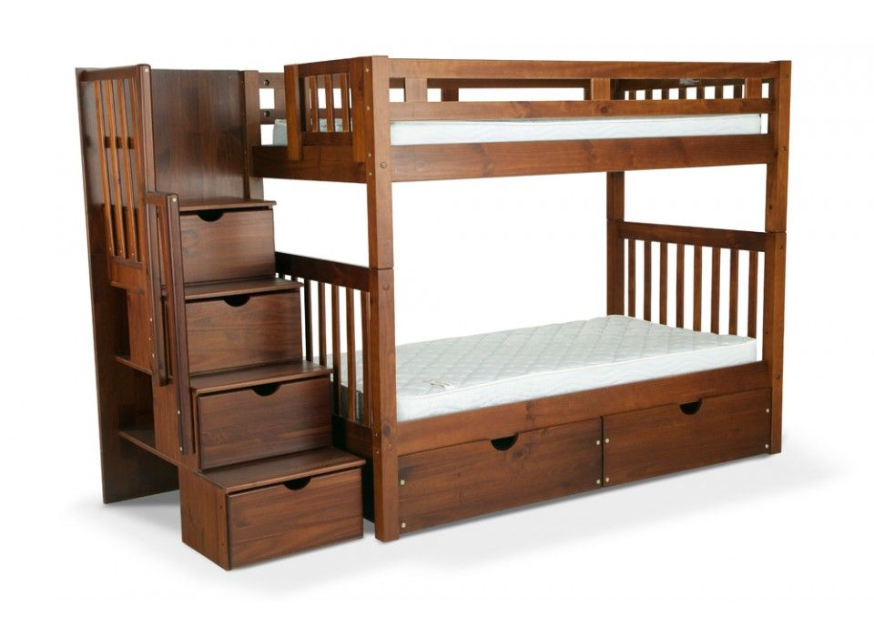 Goedkoop Stapelbed Colorado Stairway Bunk Bed With Perfection Twin Mattress