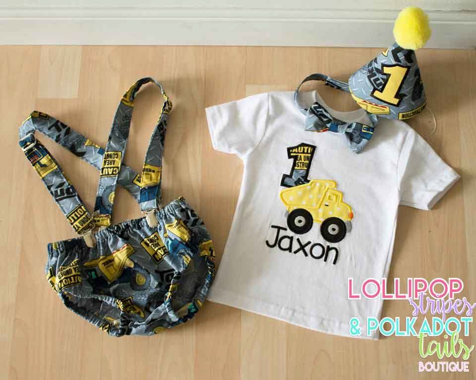 Baby BoyToddler Cake smash outfit Boy Birthday by LollipopStripes