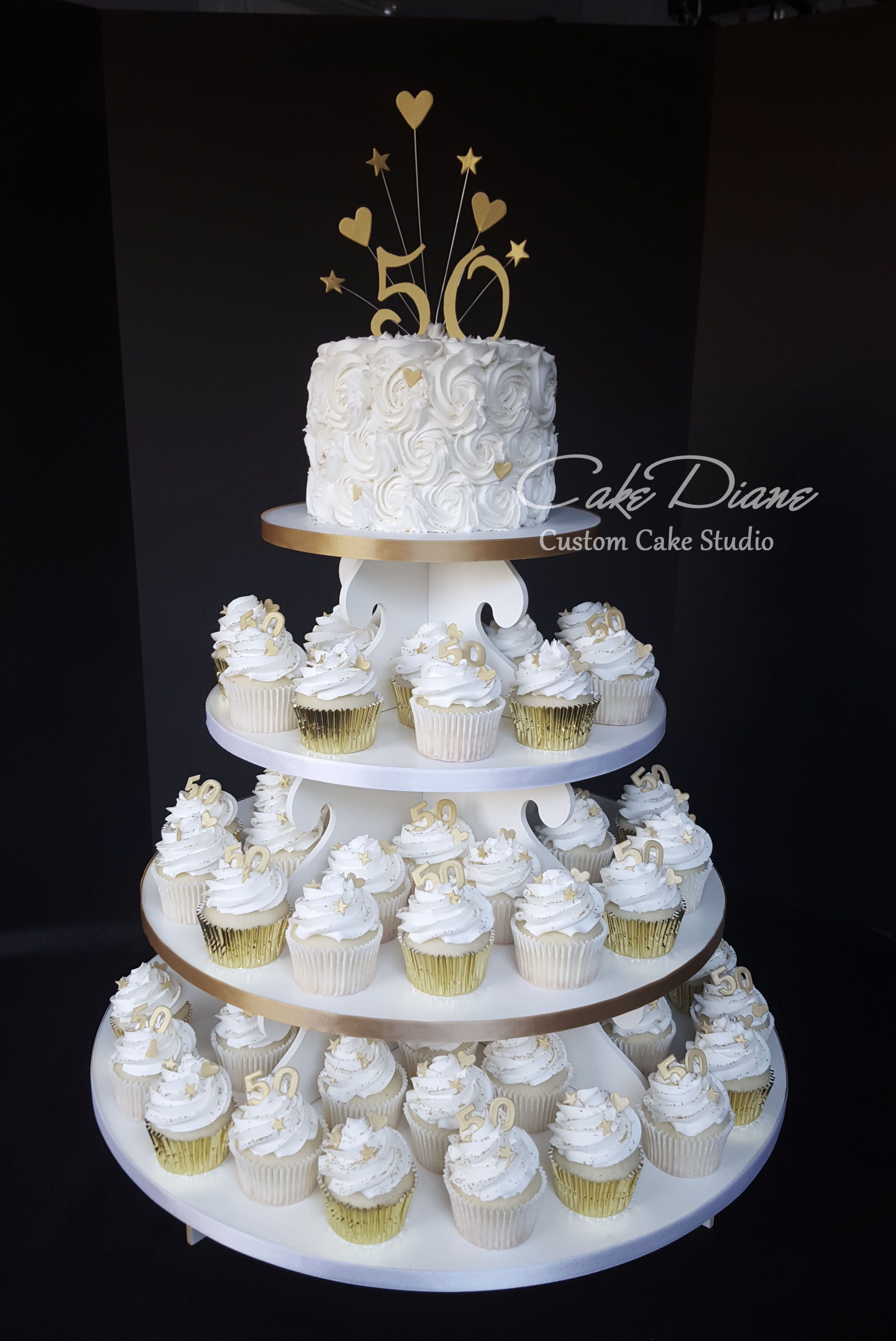 Golden 50th Anniversary Cupcake Tower With Rosette Top Cake