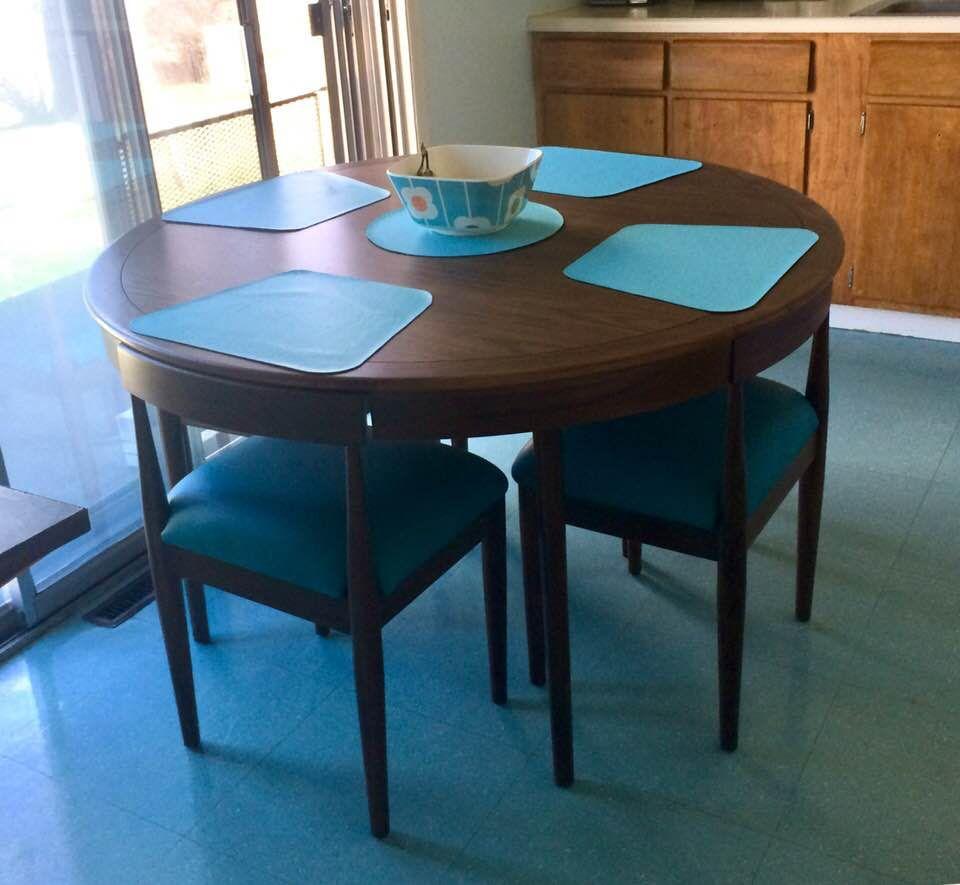 Joybird Toscano Dining Set With Turquoise Leather Seats Mid