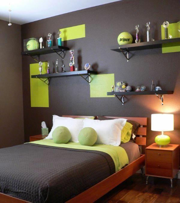 tolle ideen jugendzimmer f r junges bett wandregale gr ne. Black Bedroom Furniture Sets. Home Design Ideas