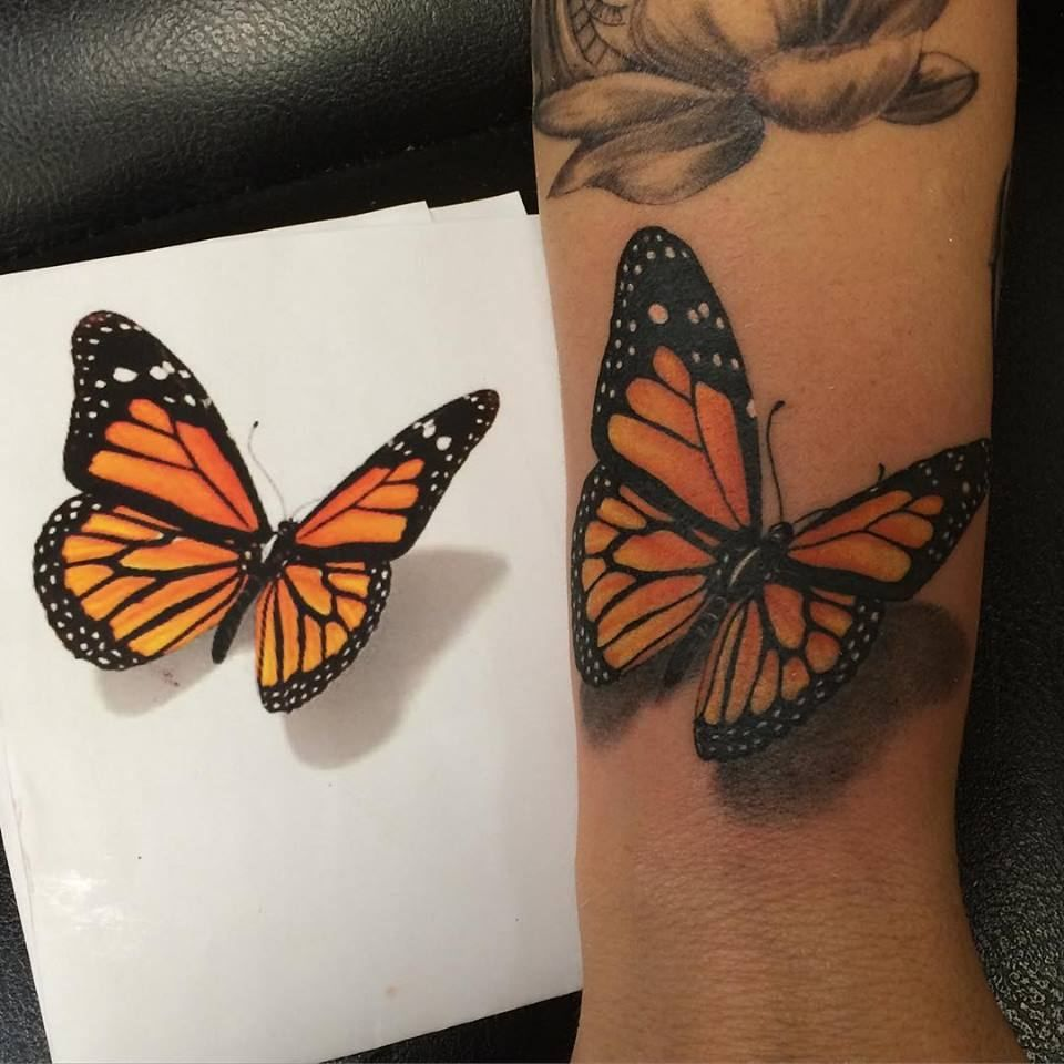 Sean Power Butterfly Tattoo Monarch Butterfly Tattoo 3d