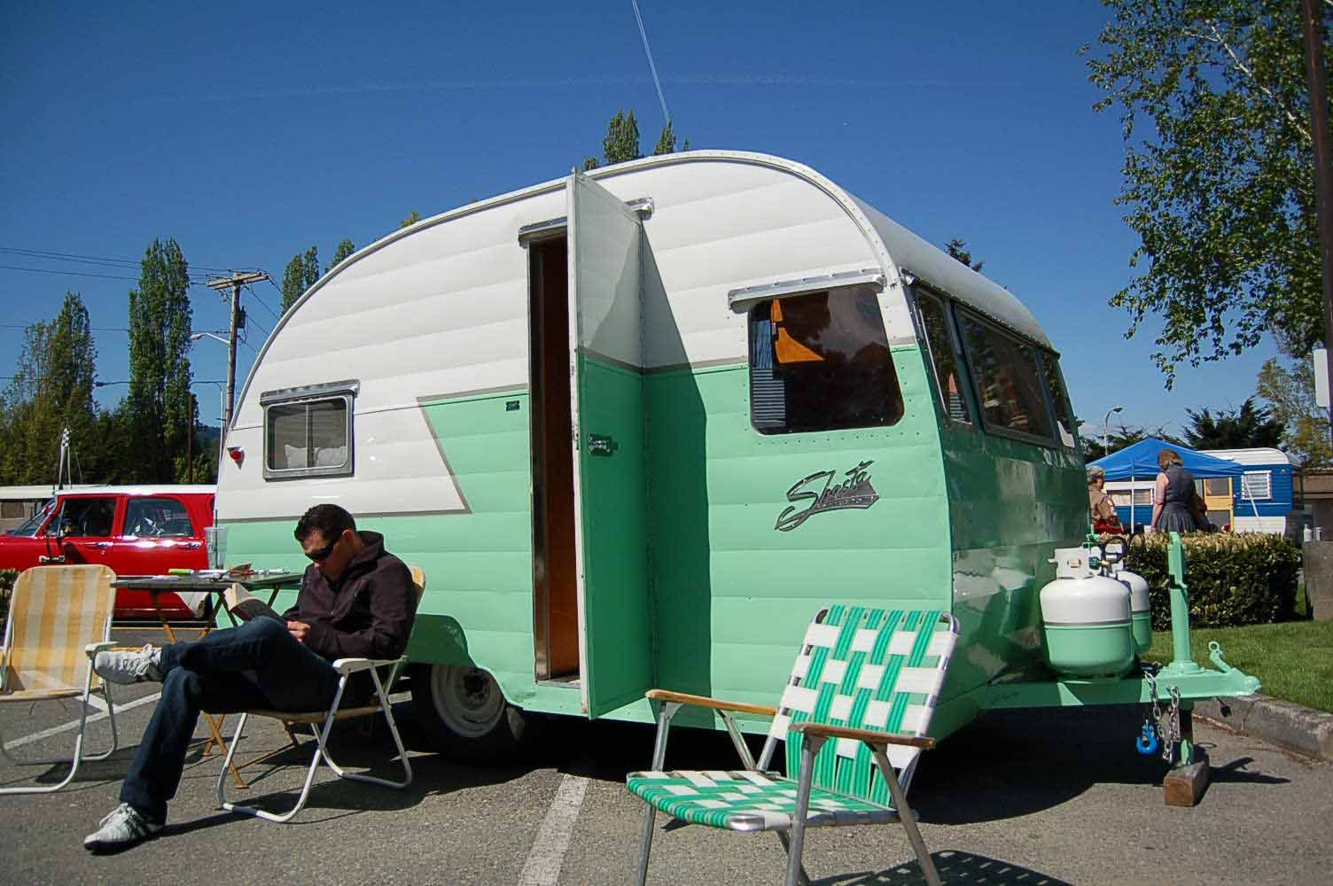 1956 Shasta Trailer In Mint Green And White With Silver Stripe