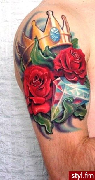 Roses And Diamonds Tattoo : roses, diamonds, tattoo, Crown,, Diamond, Tattoo, Tattoos, Quarter, Sleeve, Tattoos,, Flower