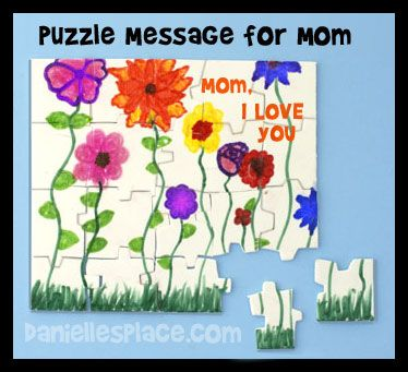 Puzzle Card For Mom (blank puzzles can be purchased at Michaels - blank puzzle template