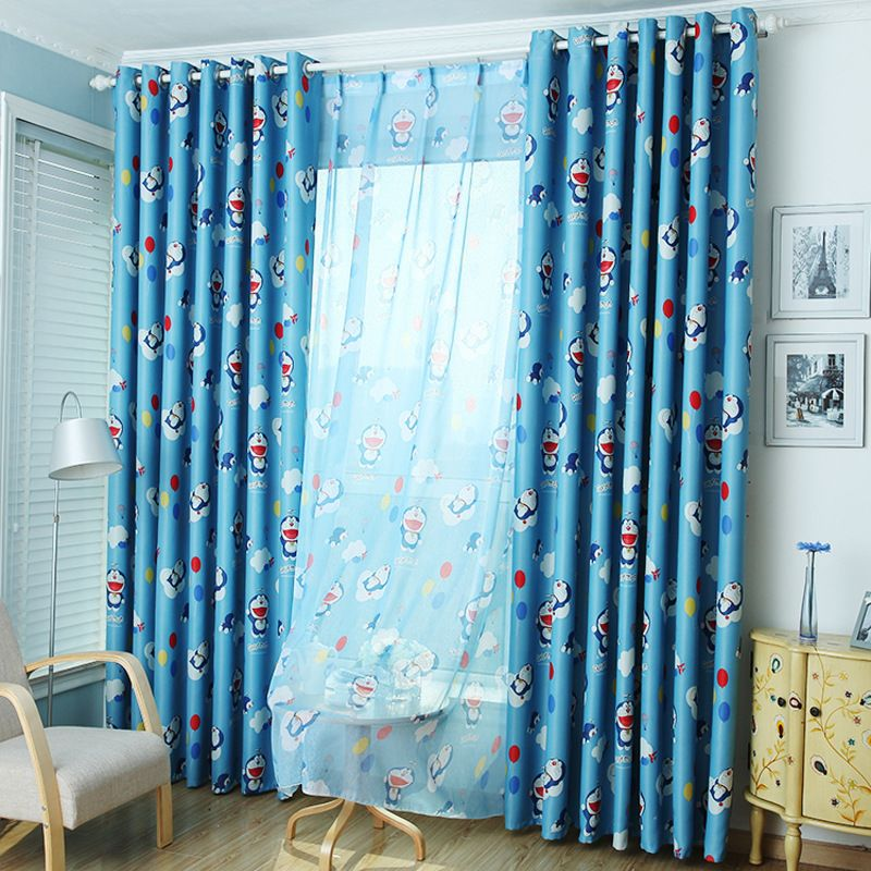 Kids Bedroom Curtains Adorable Blackout Curtains Window Curtains Blue Cartoon Doraemon Curtains Design Ideas