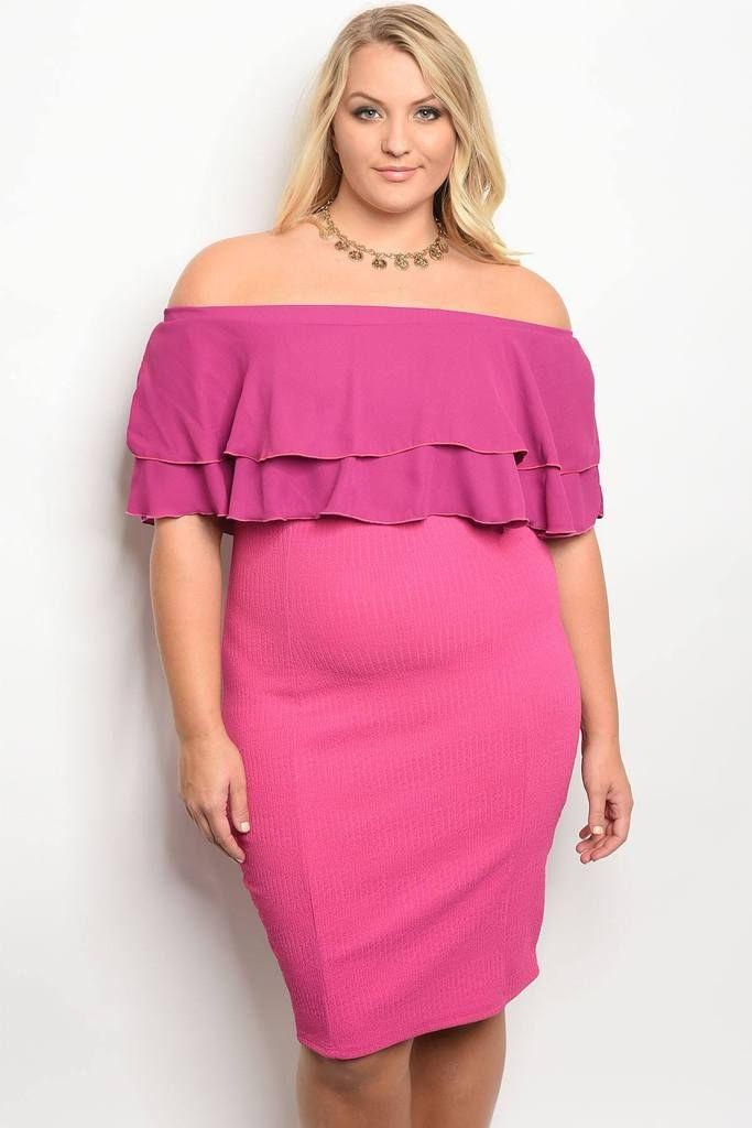 Pink Off Shoulder Ruffle Dress | Plus Size Party Dresses | Pinterest ...