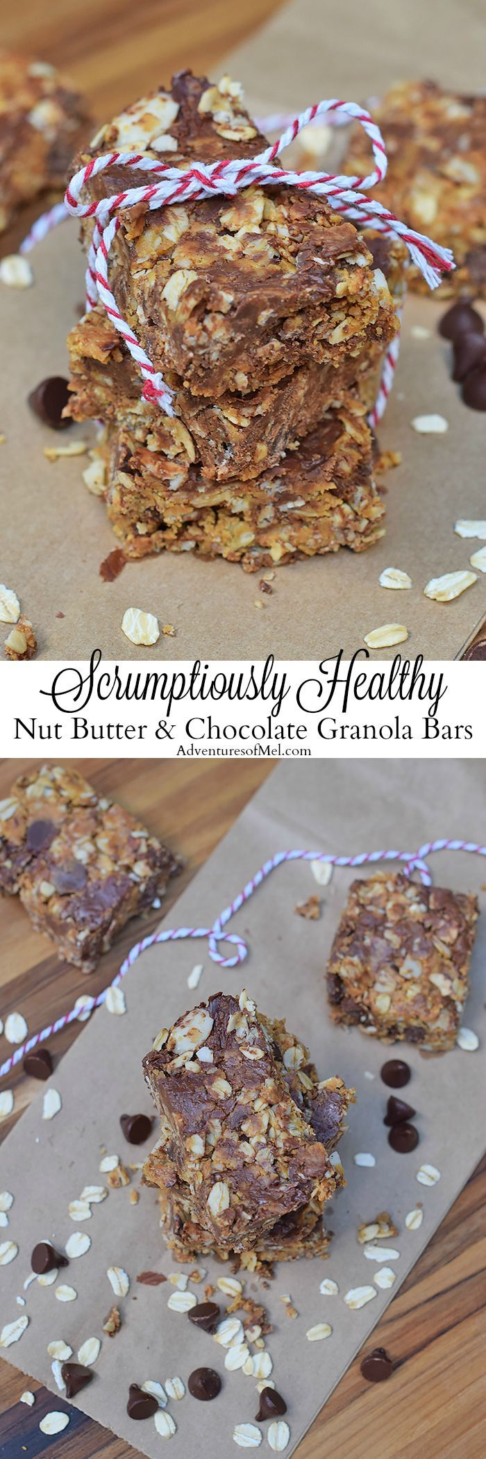 Healthy doesn't equal expensive or difficult. No-Bake Nut Butter and Chocolate Granola Bars are healthy snacks, filled with ingredients you may already have in your kitchen. Grab the easy recipe for these scrumptious treats! #homemade #granolabars #nobake #chocolate #healthyeating #peanutbutter