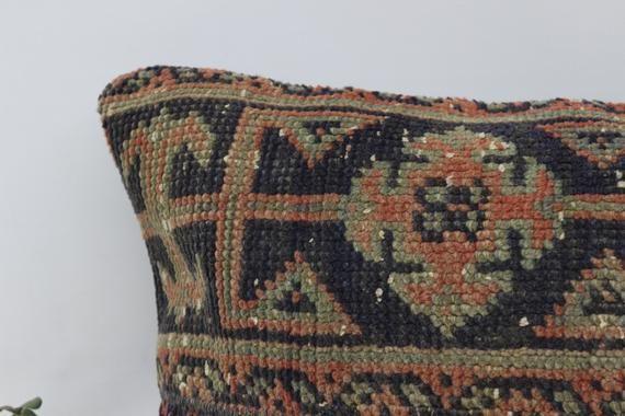 Kelim Kissen, Rug Pillow, Throw Cover Case 16x24, Decor Pillow, Ottoman Pillow, Patchwork Pillow, Bl