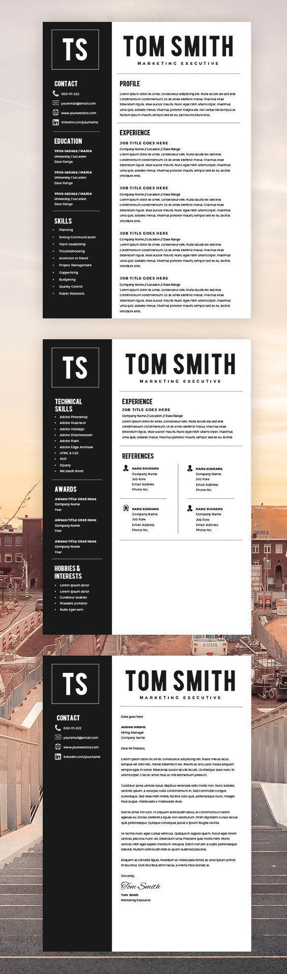 Two Page Resume Template - Resume Builder - CV Template + Cover ...