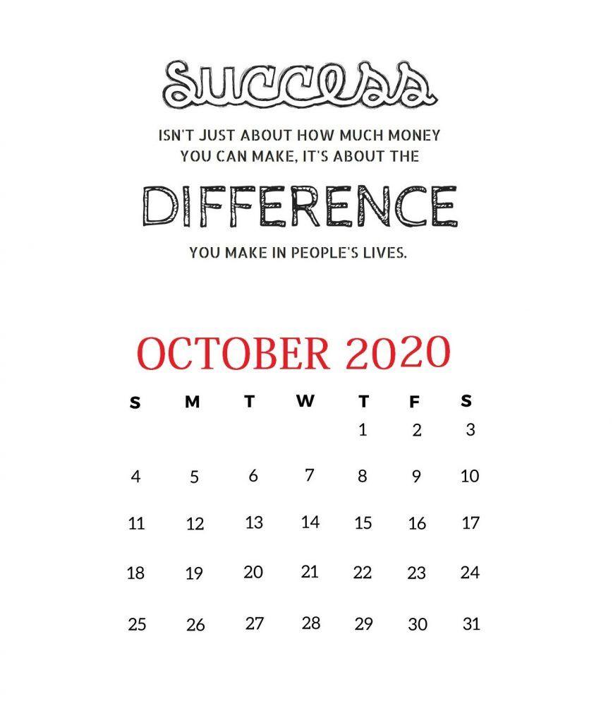 October 2020 Motivational Calendar Monthly Calendar Template 2020 Calendar Printable Calendar