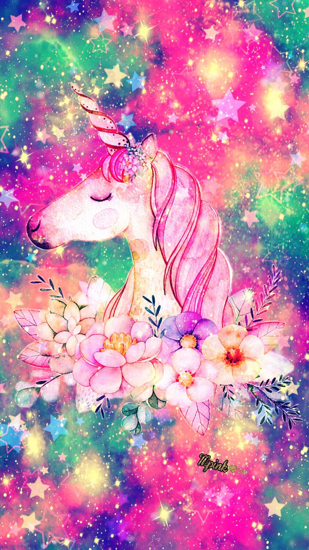 Floral Unicorn Galaxy Wallpaper