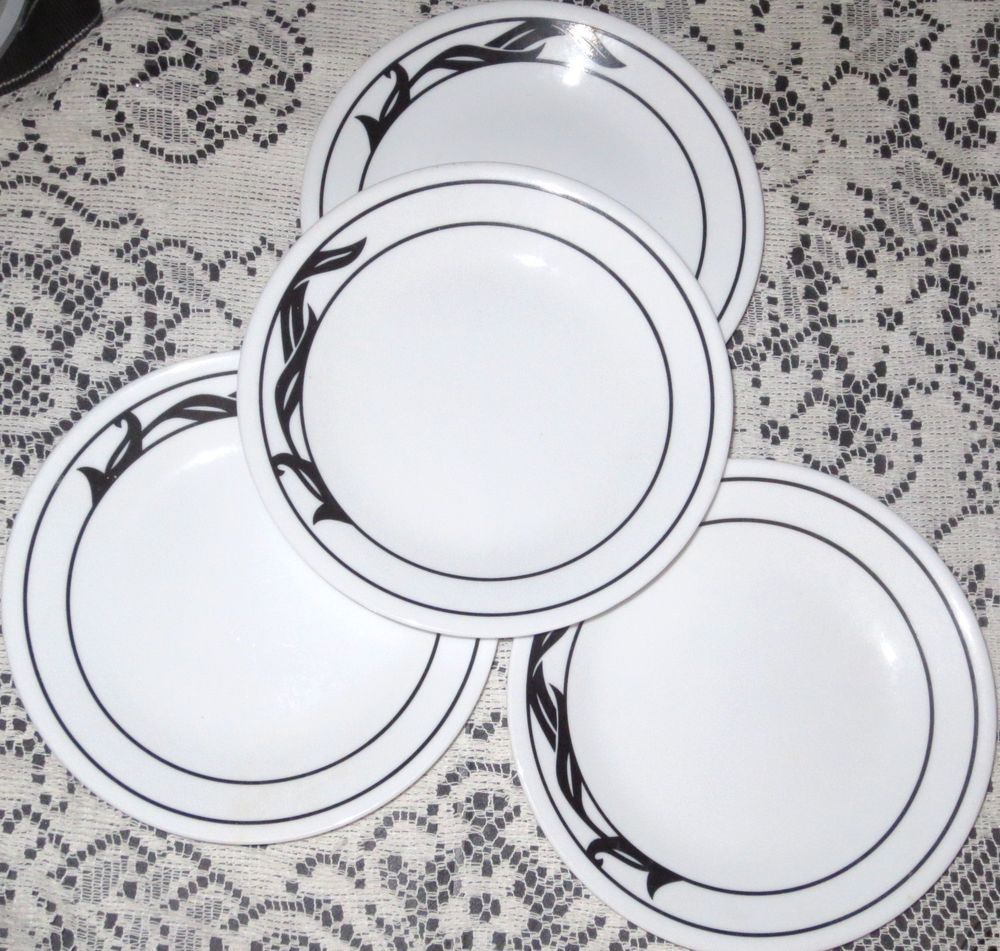 4 Lyrics Corelle Black Leaves Plates 8 Dinnerware Microwave Safe