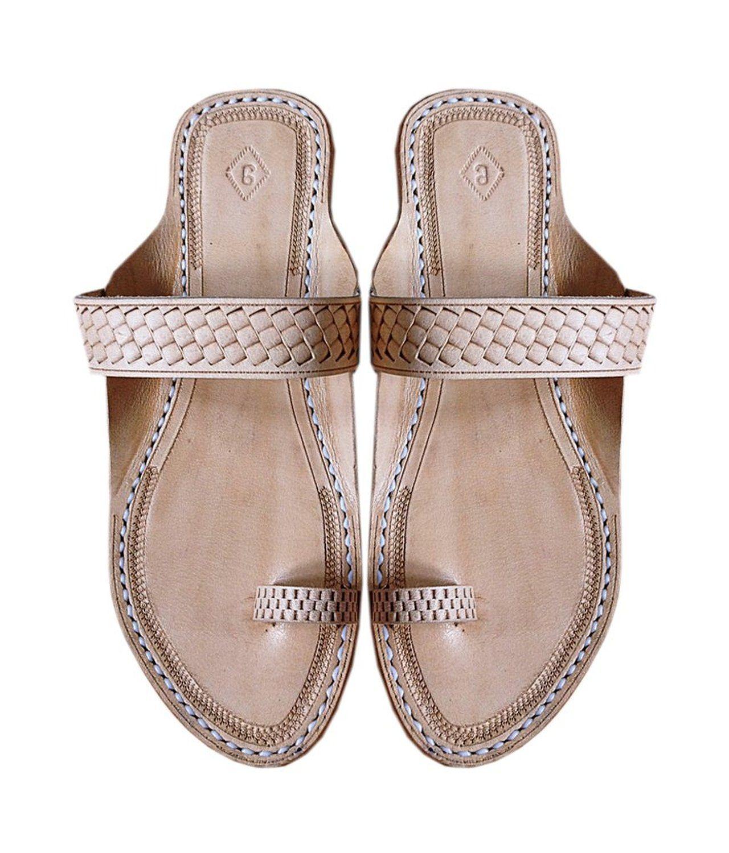 5276c4c710436 Amazon.com: Kolhapuri Chappal Women's Handmade Flat Heel Leather ...
