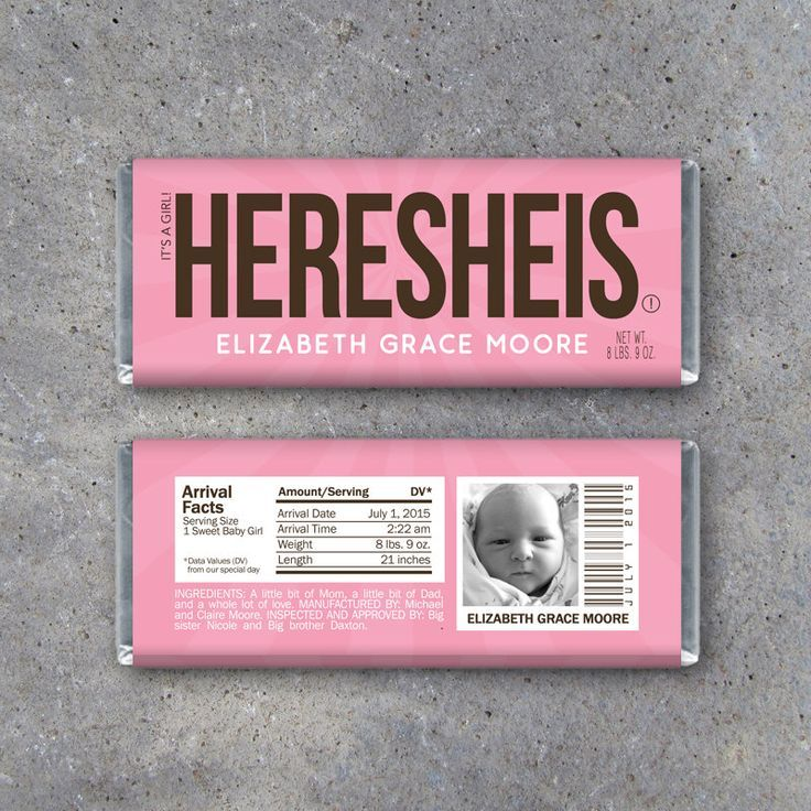 Personalized Birth Announcement Candy Bar Wrappers In Pink Etsy Birth Announcement Candy Personalized Birth Announcements Hershey Bar Wrappers