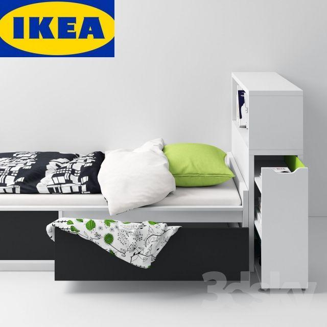 3d models: Bed - IKEA FLAXA (bed + headboard)  H O M E .  Pinterest  Bed headboards, Ikea ...