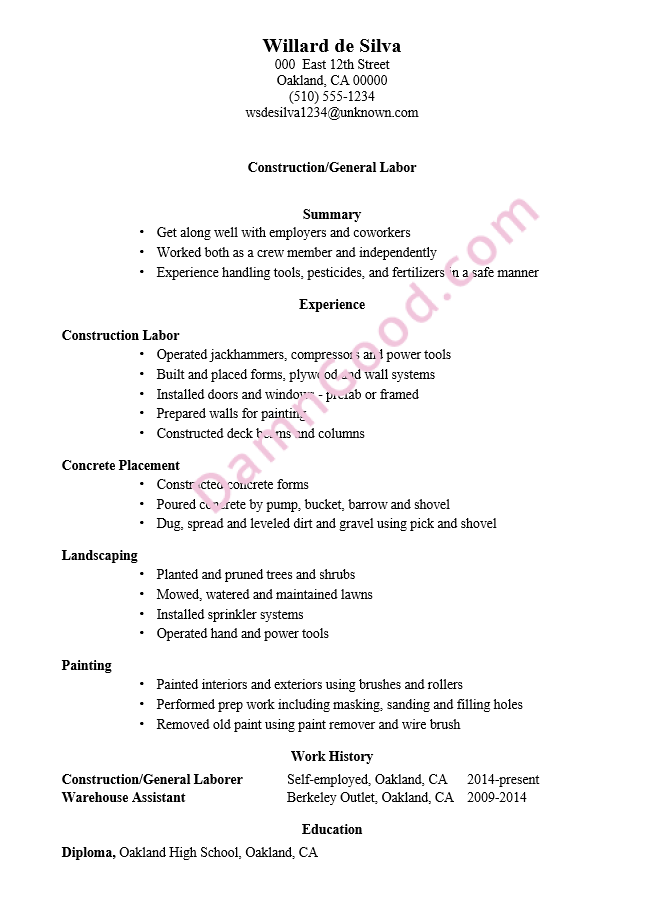 Resume Examples General Labor Resume Examples Good Resume Examples Resume Guide