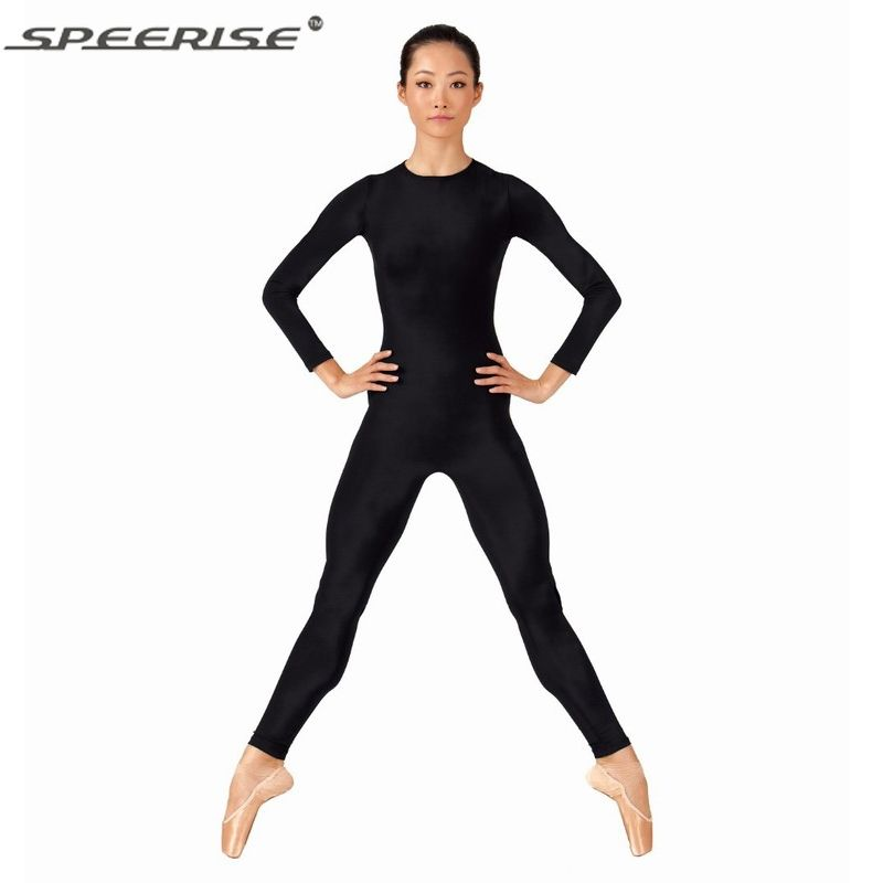 Women Lycra Spandex Unitard Bodysuit One Piece Long Sleeve Crew Neck ...