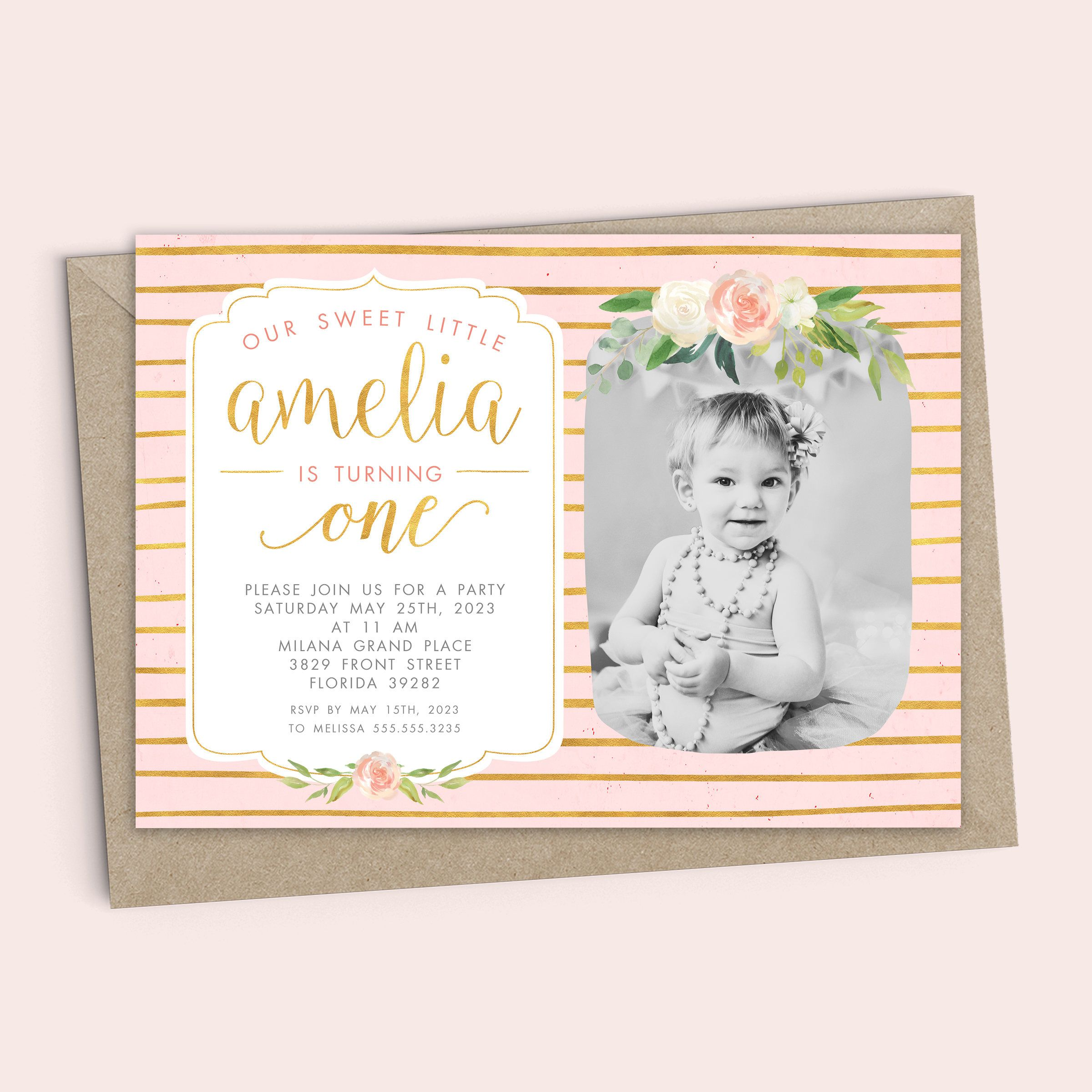 First birthday invitation template girl gold watercolor flowers first birthday invitation template girl gold watercolor flowers invitation design first filmwisefo