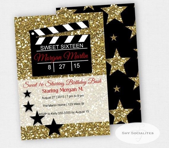 Hollywood Glamour Movie Party Invitation
