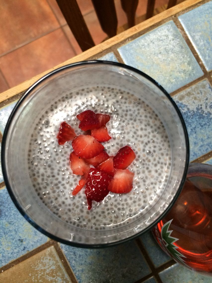 almond milk chia pudding with strawberries and agave nectar