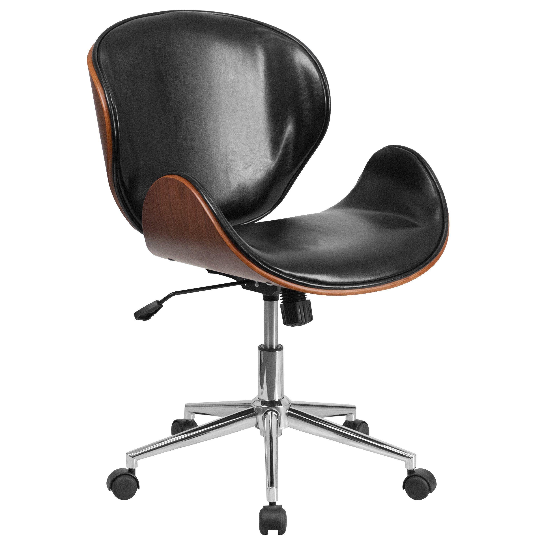Swivel Desk Chair In Black Leather