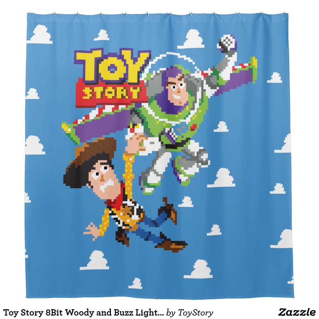 Toy Story 8bit Woody And Buzz Lightyear Shower Curtain Zazzle