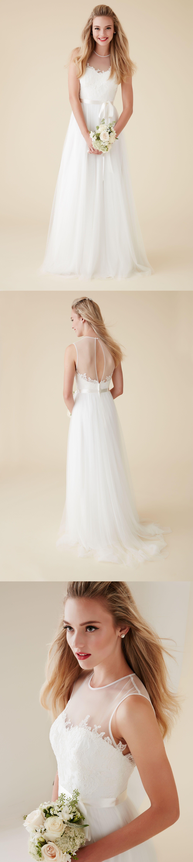 Modern vintage lace alineprincess tulle sleeveless wedding dress