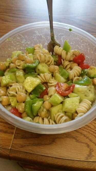 Chic pea, advacado, green peppers, onions, grape tomatoes, cucumber and high protein pasta salad! With balsamic vinegar! YUM!