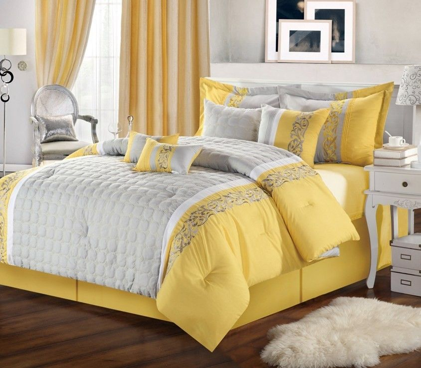 Possible Second Bedding Comforter Sets Yellow Gray Bedroom