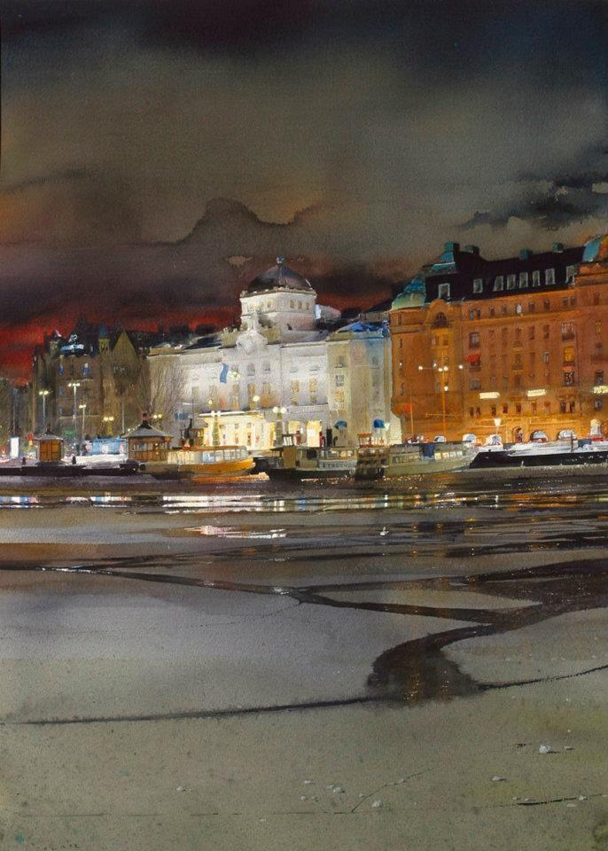 Stanislaw Zoladz Architecture Aquarelle Peinture Gouache Et