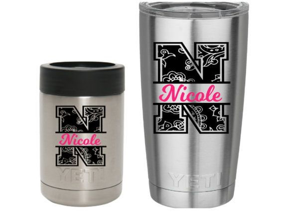 Paisley Yeti Decal Personalized Tumbler Decal Monogram Decal - Custom vinyl stickers for cups