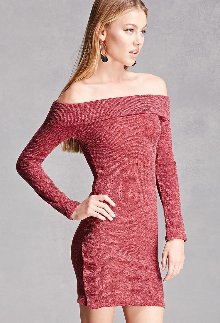 A marled, ribbed knit mini dress featuring a fold-over off-the ...