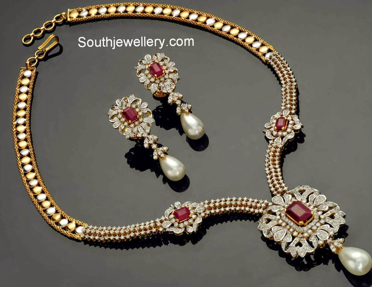 Stylish necklace set studded with sparkling diamonds rubies and