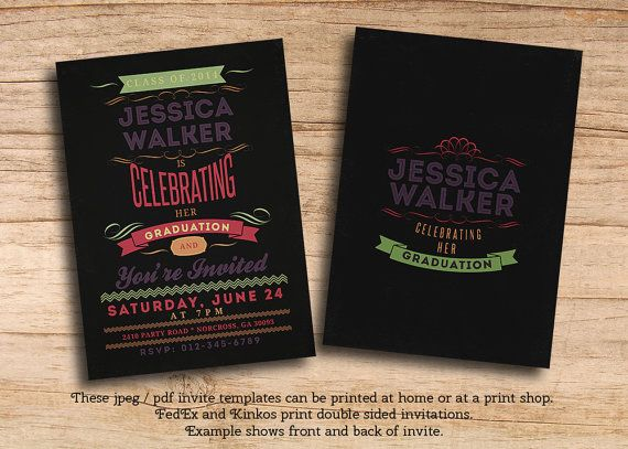 graduation party vintage chalkboard double sided printable pdf invitations personalized jpeg templates changes to wording