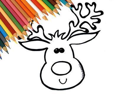 Reindeer Rudolph Christmas Draw Coloring Page For Kids Download