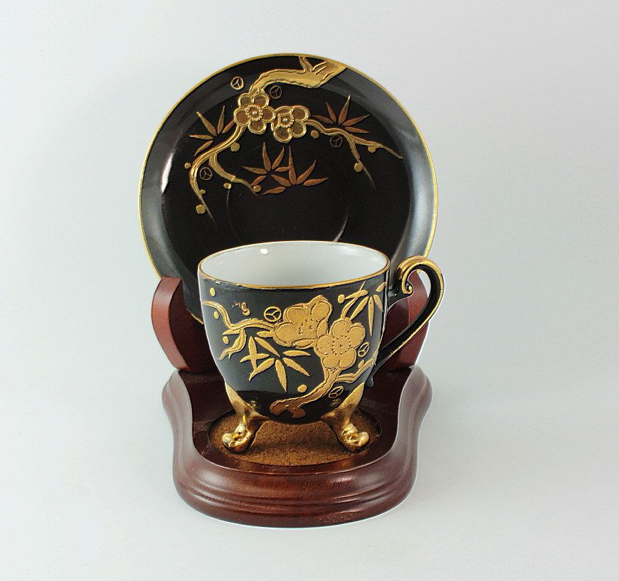 Japanese Cup Black, Japanese Cup Black Gold, Japanese Cup Gold Guilding by OliviaStuardTreasure on Etsy